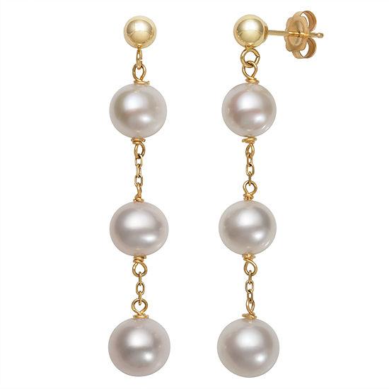 Cultured Freshwater Pearl 10K Gold Drop Earrings