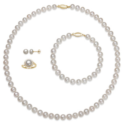 Womens 4-pc. Cultured Freshwater Pearl 14K Gold Over Silver Jewelry Set