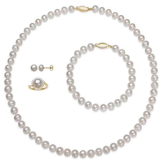 e7f25aa29 Womens 4 pc Cultured Freshwater Pearl 14K Gold Over Silver Jewelry Set  JCPenney
