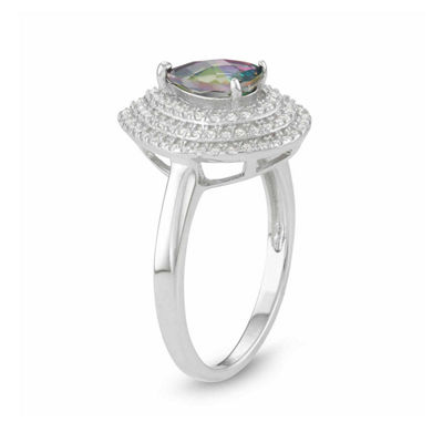 Womens Genuine Mystic Fire Topaz Sterling Silver Halo Cocktail Ring