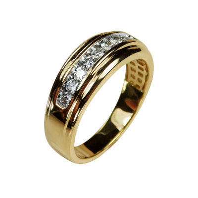 Mens 8MM 1/2 CT. T.W. Genuine White Diamond 10K Gold Wedding Band