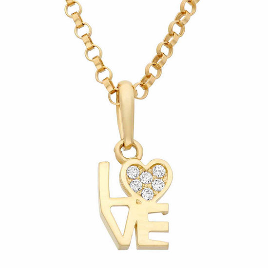 Girls Lab Created White Cubic Zirconia 14K Gold Heart Pendant Necklace