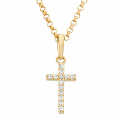 Girls Lab Created White Cubic Zirconia 14K Gold Cross Pendant Necklace