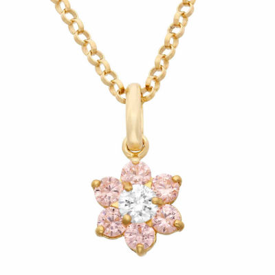 Girls Lab Created Pink Cubic Zirconia 14K Gold Flower Pendant Necklace
