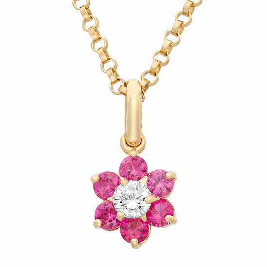 Girls Lab Created Red Cubic Zirconia 14K Gold Flower Pendant Necklace
