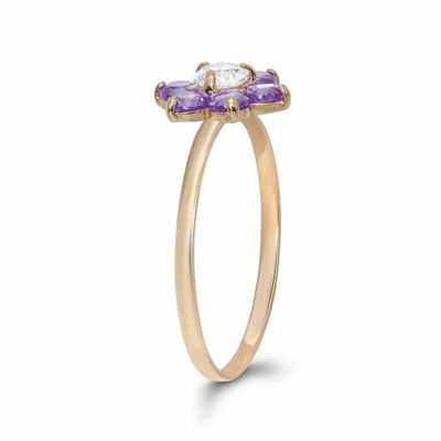 Girls 1/5 CT. T.W. Purple Cubic Zirconia 10K Gold Delicate Ring
