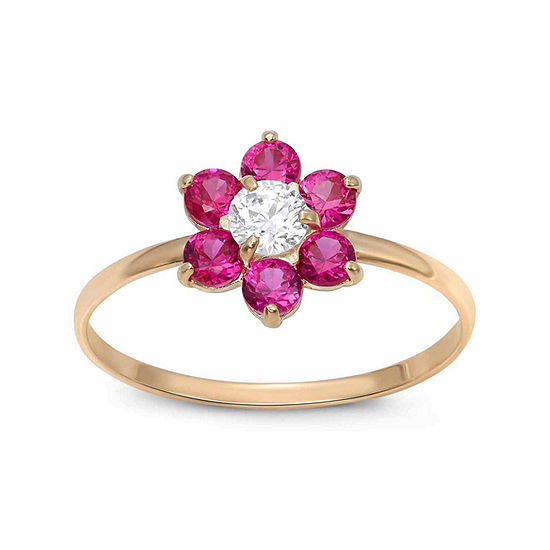 Girls 1 5 Ct Tw Lab Created Red Cubic Zirconia 14k Gold Flower Delicate Cocktail Ring