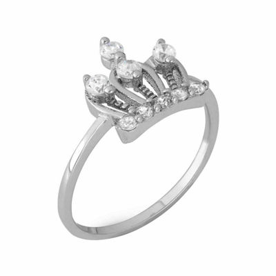 Girls White Cubic Zirconia Sterling Silver Delicate Ring
