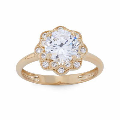 Diamonart Womens 2 1/4 CT. T.W. Lab Created White Cubic Zirconia 10K Gold Engagement Ring