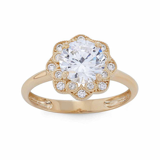 Diamonart Womens 2 1/4 CT. T.W. Lab Created White Cubic Zirconia 10K Gold Halo Engagement Ring