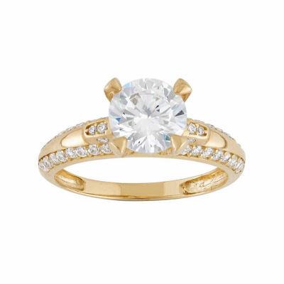Diamonart Womens 2 1/4 CT. T.W. Lab Created White Cubic Zirconia 10K Gold Engagement Ring