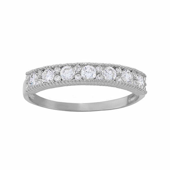 Diamonart Womens 3.5mm 1/2 CT. T.W. Lab Created White Cubic Zirconia 10K Gold Band