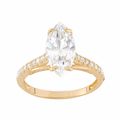 Diamonart Womens 2 3/4 CT. T.W. Lab Created White Cubic Zirconia 10K Gold Engagement Ring