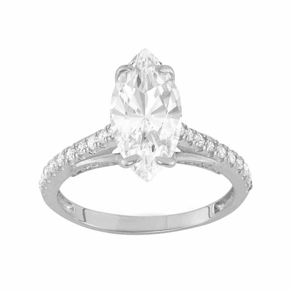Diamonart Womens 2 3/4 CT. T.W. Lab Created Marquise White Cubic Zirconia 10K Gold Engagement Ring
