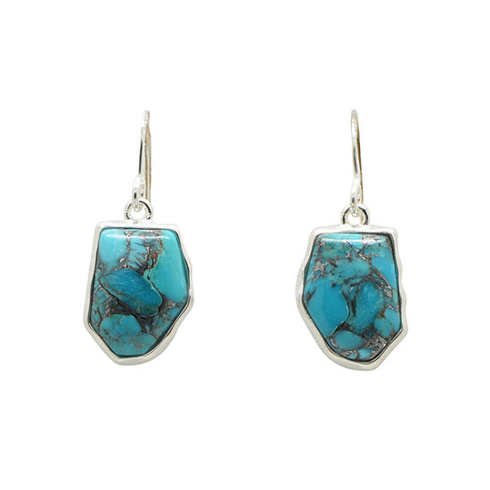Silver Elements By Barse Lab Created Blue Turquoise Sterling Silver Drop Earrings