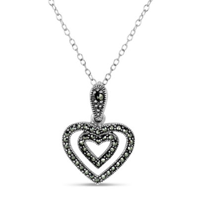 Swarovski Womens Black Marcasite Sterling Silver Heart Pendant Necklace