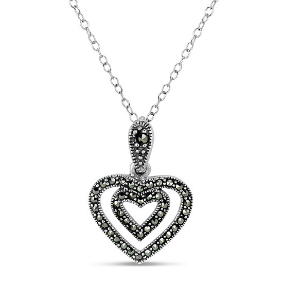 Sterling Silver Heart Pendant Necklace featuring Swarovski Genuine Marcasite