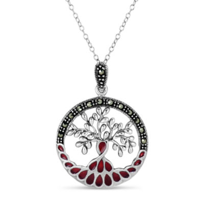 Swarovski Womens Black Marcasite Sterling Silver Round Pendant Necklace