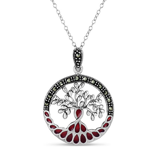 Sterling Silver Round Pendant Necklace featuring Swarovski Genuine Marcasite