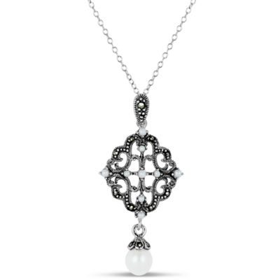Swarovski Womens Genuine Black Marcasite Cultured Freshwater Pearl Sterling Silver Pendant Necklace