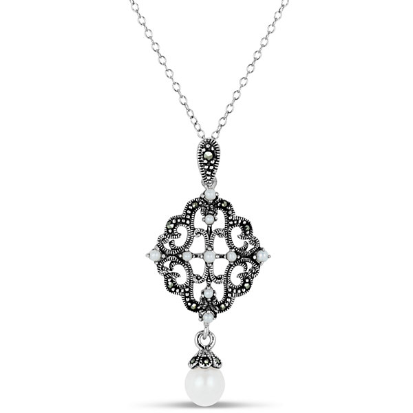 Swarovski Womens Black Marcasite Sterling Silver Pendant Necklace