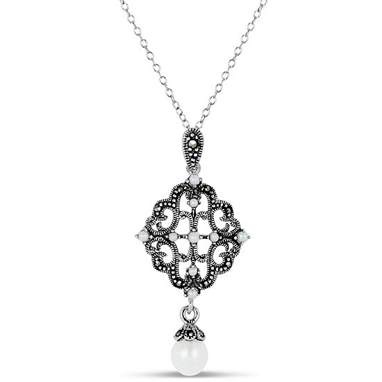 Cultured Freshwater Pearl Sterling Silver Pendant Necklace featuring Swarovski Genuine Marcasite