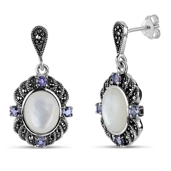 Sterling Silver Oval Drop Earrings featuring Swarovski Genuine Marcasite