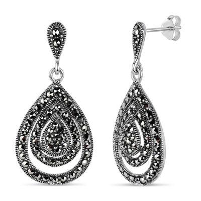 Swarovski Black Marcasite Sterling Silver Drop Earrings