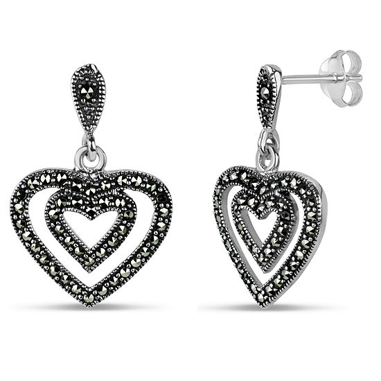 Sterling Silver Heart Drop Earrings featuring Swarovski Genuine Marcasite