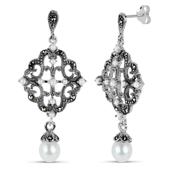 Swarovski Black Marcasite Sterling Silver Drop Earrings