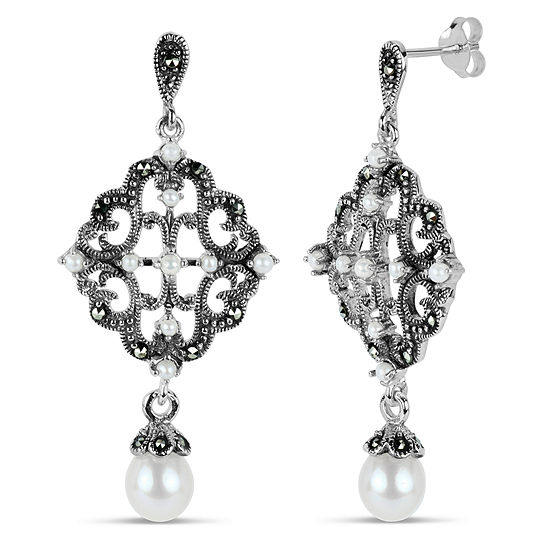 83e3aac45 Sterling Silver Drop Earrings featuring Swarovski Genuine Marcasite -  JCPenney