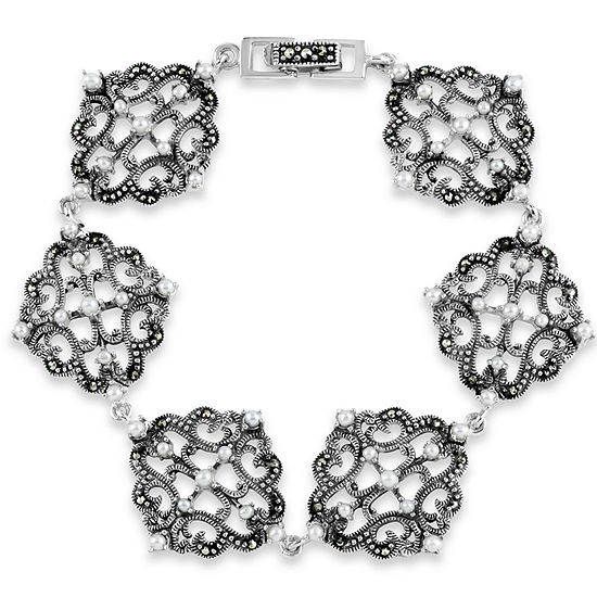 Sterling Silver 7 Inch Casted Link Bracelet featuring Swarovski Marcasite