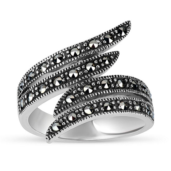 Sterling Silver Bypass Cocktail Ring featuring Swarovski Genuine Marcasite