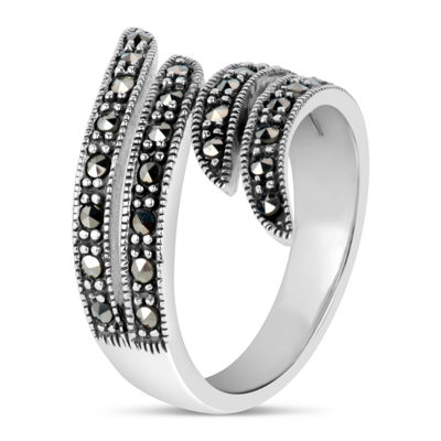 Swarovski Womens Black Marcasite Sterling Silver Bypass Ring