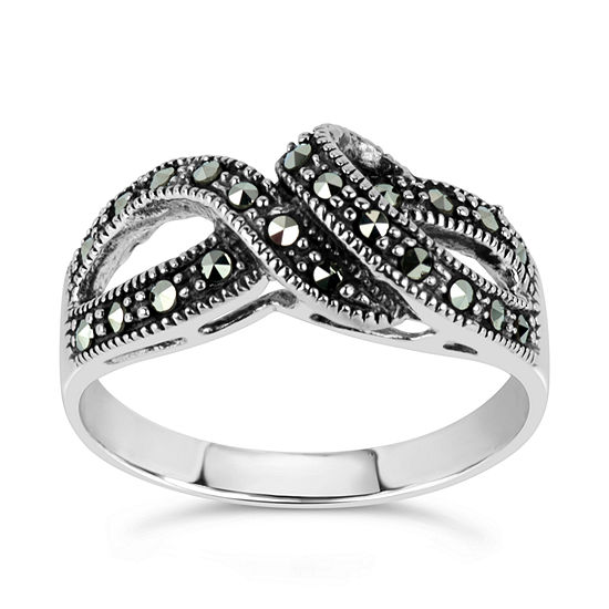 Sterling Silver Cocktail Ring featuring Swarovski Genuine Marcasite