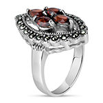 Womens Genuine Black Marcasite Sterling Silver Cocktail Ring