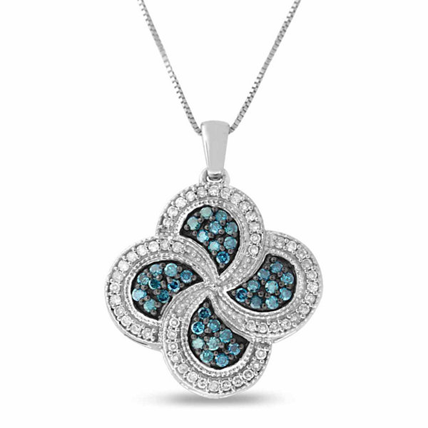 Womens 3/4 CT. T.W. Blue Diamond Sterling Silver Pendant Necklace