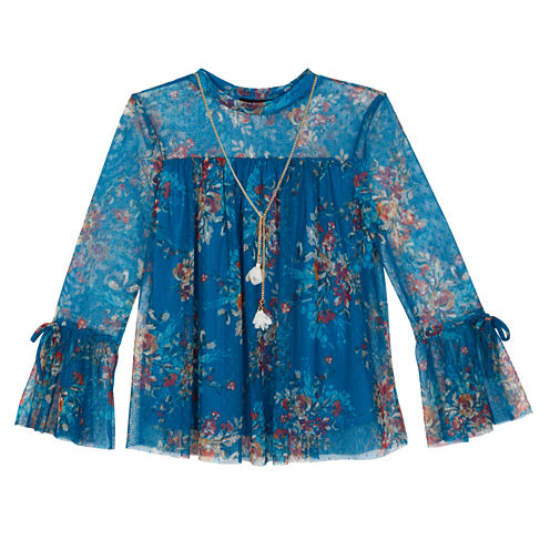 by&by girl Round Neck Long Sleeve Bell Sleeve Blouse - Big Kid Girls