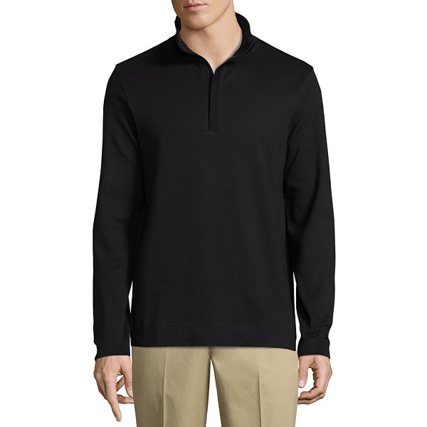 Claiborne Quarter Zip Interlock Mock Neck Long Sleeve Pullover Sweater