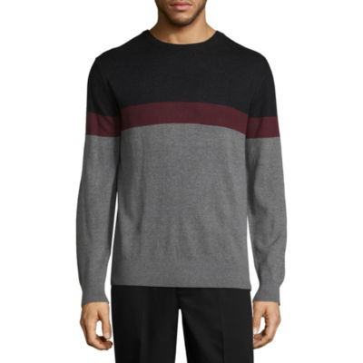 Claiborne Chest Stripe Crew Neck Long Sleeve Pullover Sweater