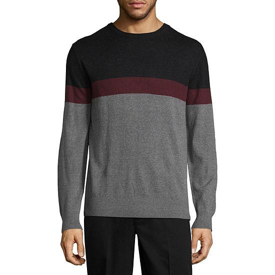 Claiborne Chest Stripe Crew Neck Pullover Sweater