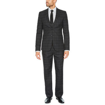 JF J. Ferrar Charcoal Plaid Suit Separates-Slim
