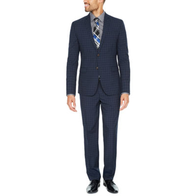 JF J. Ferrar Navy Check Suit Separates-Slim