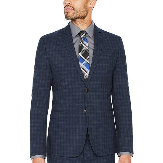 JF J.Ferrar-Slim Checked Slim Fit Suit Jacket