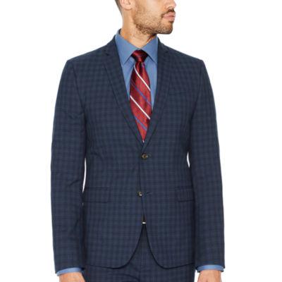 JF J.Ferrar Checked Super Slim Fit Suit Jacket
