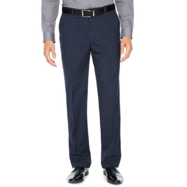 JF J.Ferrar Checked Slim Fit Stretch Suit Pants - Slim
