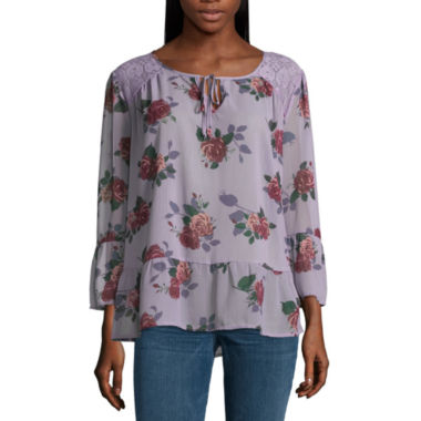 Self Esteem Long Sleeve Split Crew Neck Chiffon Blouse-Juniors