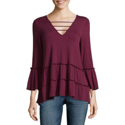 Miss Chievous 3/4 Sleeve V Neck Jersey Blouse-Juniors