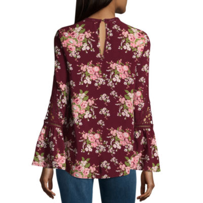 Miss Chievous Elbow Sleeve Keyhole Neck Woven Blouse-Juniors