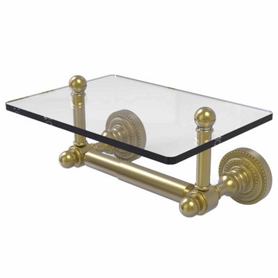 Allied Brass Dottingham Collection Two Post Toilet Tissue Holder with Glass Shelf